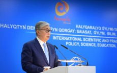 The President of Kazakhstan makes speech at the forum of health care workers